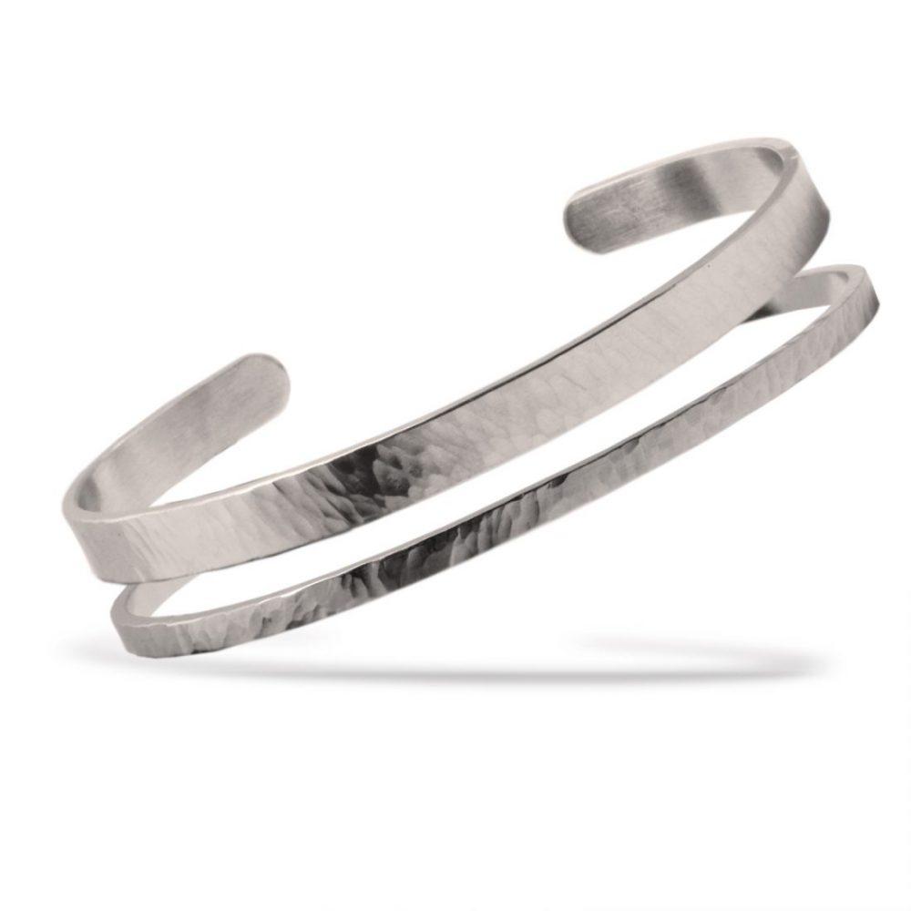 Nato Cuff Bracelet Jonc Duo Acier Martele