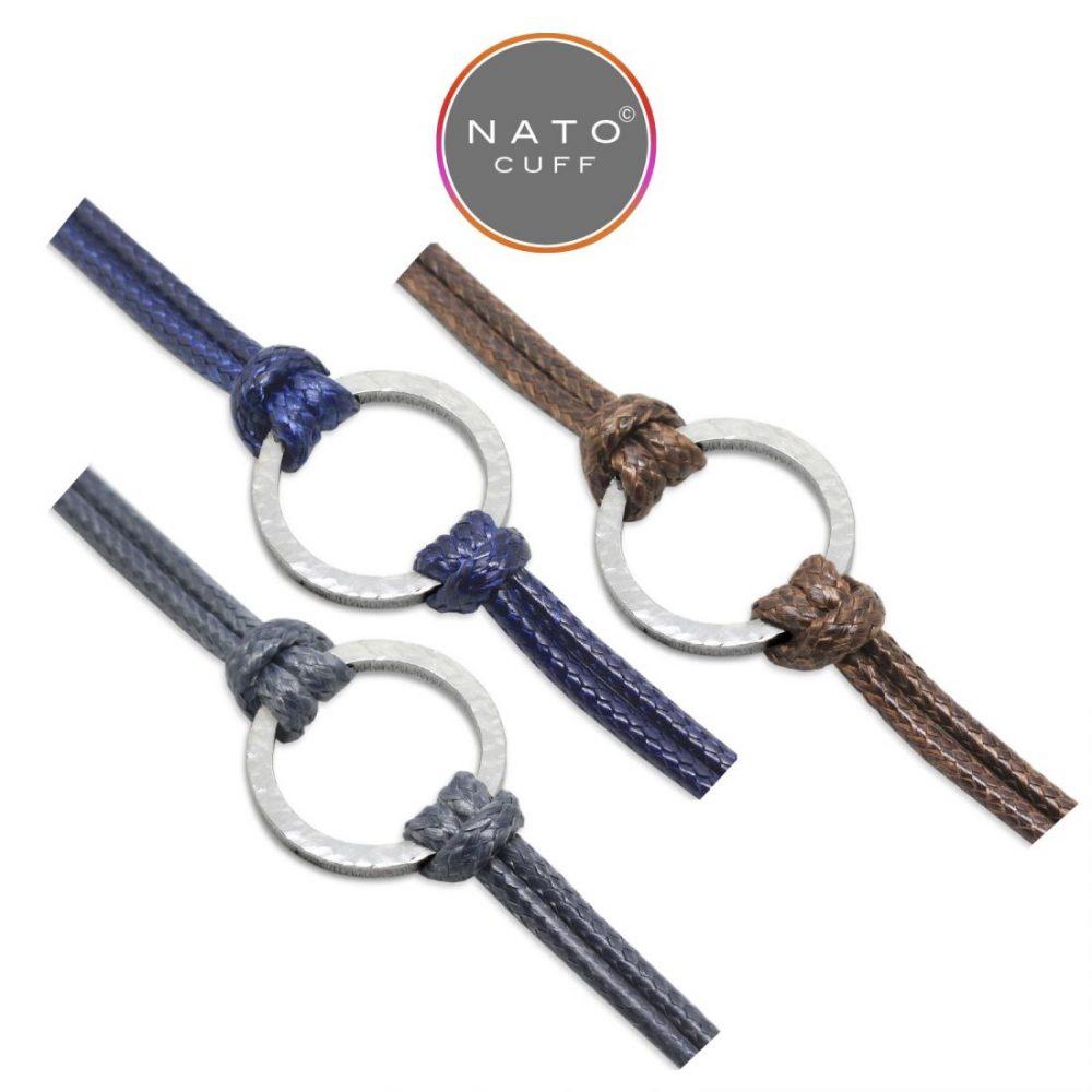 Nato Cuff – Bracelets Geometrique Rond Acier Martele-Coton Cire (1)