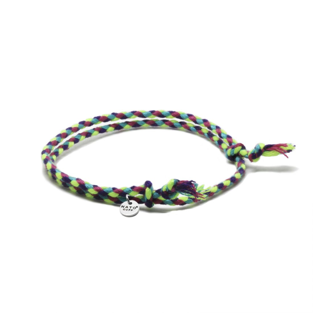 Nato Cuff-Bracelet Coton tresse Fluo Made in France