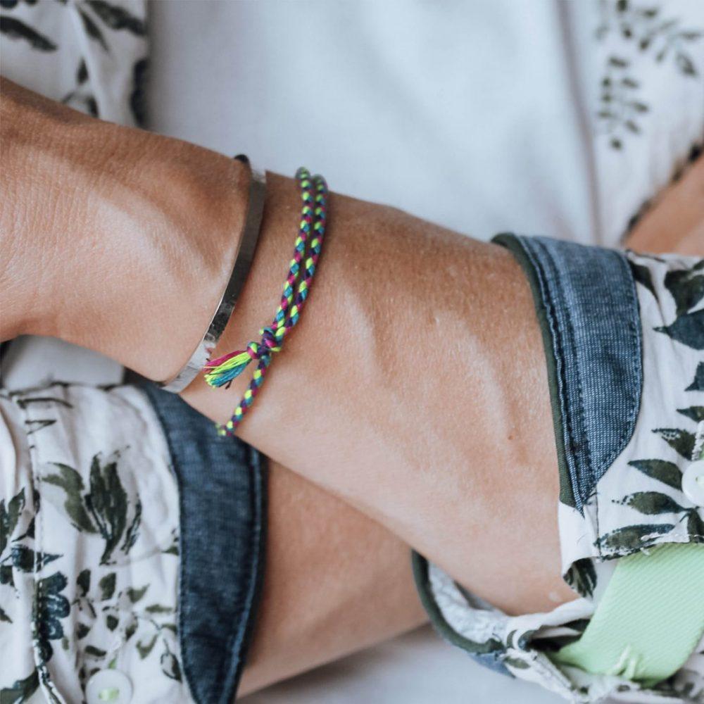 Nato Cuff Bracelet Coton tresse fluo