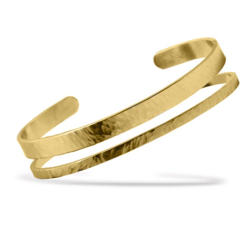 Nato Cuff Bracelet Jonc Duo Acier Or Jaune Martele