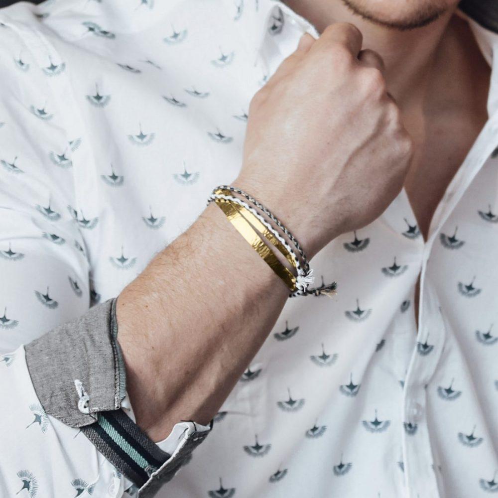 Nato Cuff-Bracelets Joncs Acier Or Jaune