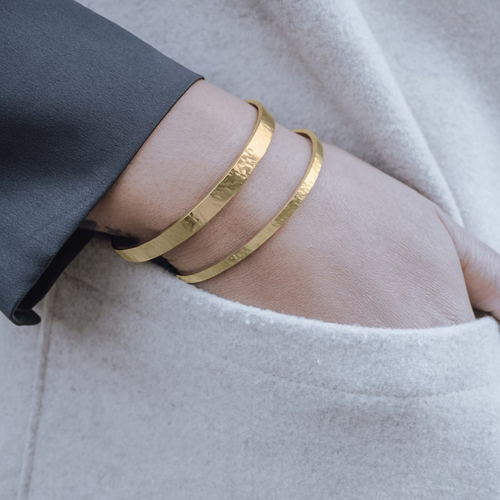 Nato Cuff-Bracelets Joncs Duo Acier Or Jaune-Femmes