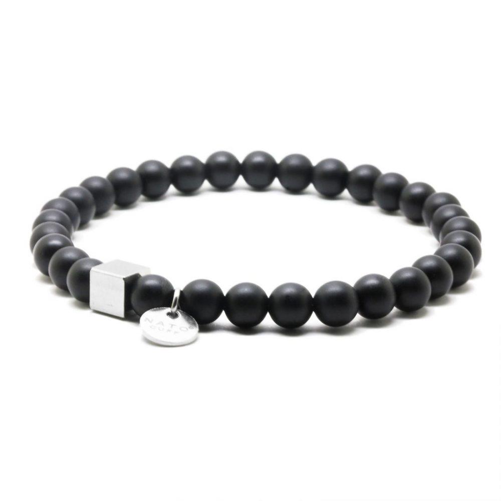 Nato Cuff-Bracelet homme perles semi precieuses Onyx Mat