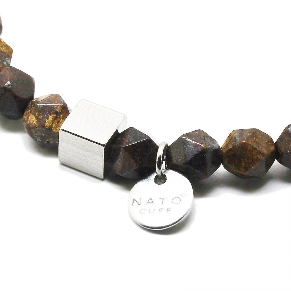 Nato Cuff-Bracelet homme perles semi precieuses Polygone Bronzite Macro