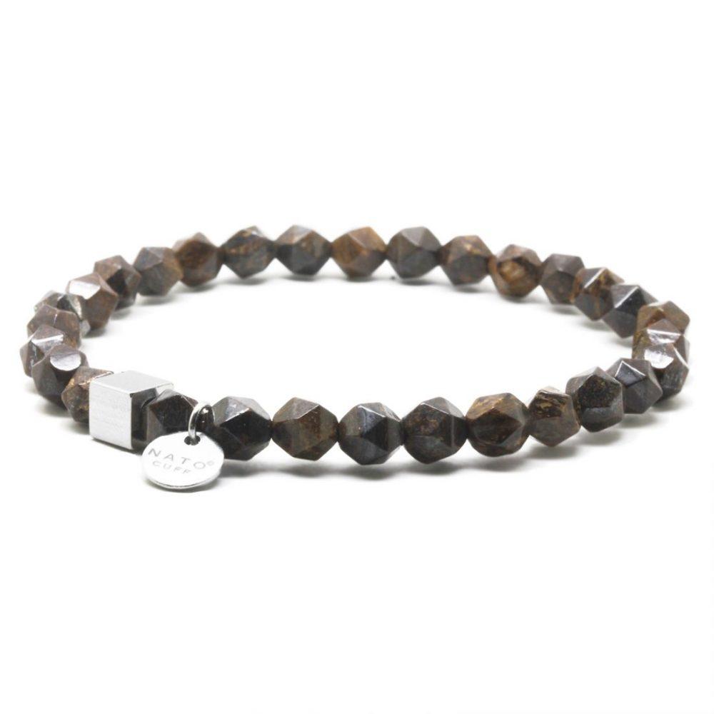 Nato Cuff-Bracelet homme perles semi precieuses Polygone Bronzite